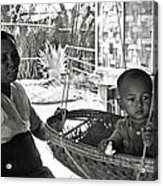 Burmese Grandmother And Grandchild Acrylic Print by RicardMN Photography