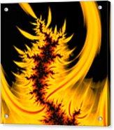 Burning Fractal Fire Warm Orange Flames Black Background Acrylic Print