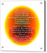 Burning Orb With Poem Acrylic Print