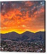 Burning Sicilian Sunset Acrylic Print by Viacheslav Savitskiy