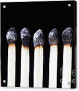 Burnt Matches On Black Acrylic Print