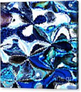 Bursts Of Blue And White - Abstract Art Acrylic Print by Carol Groenen
