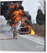 Bus Fire Acrylic Print by Steven Townsend