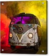 Bus In A Cloud Of Multi-color Smoke Acrylic Print