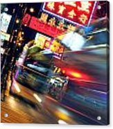 Bus Race In Mong Kok Acrylic Print by Lars Ruecker