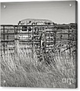 Bus Stop On Route 66 In Oklahoma In Black And White Acrylic Print