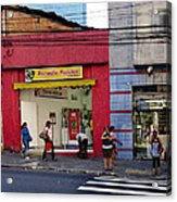 Bus Stop On Rua Teodoro Sampaio Acrylic Print