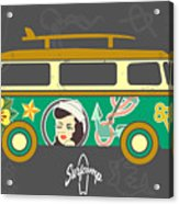 Bus With Surfboard Acrylic Print
