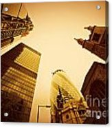 Business Architecture Skyscrapers In London Uk Golden Tint Acrylic Print
