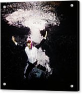 Businessman In Suit Plunging Into Water Acrylic Print