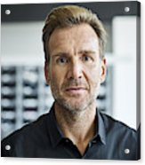 Businessman in textile factory Acrylic Print