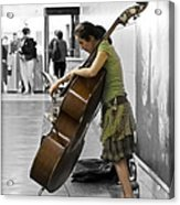 Busking Parisian Cellist Acrylic Print