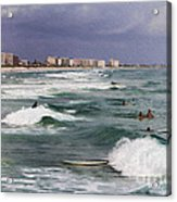 Busy Day In The Surf Acrylic Print