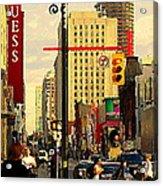 Busy Downtown Toronto Morning Cross Walk Traffic City Scape Paintings Canadian Art Carole Spandau Acrylic Print