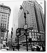 Busy Traffic Junction Of West 34th Street St And Broadway With Empire State Building Shrouded Mist Acrylic Print