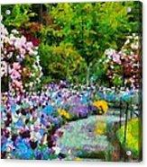 Butchart Gardens In The Rain Acrylic Print