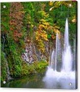 Butchart Waterfall And Fountain-- Acrylic Print