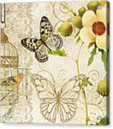 Butterfly Green Collage Acrylic Print by Grace Pullen