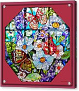Butterfly Octagon Stained Glass Window Acrylic Print