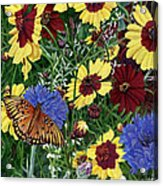 Butterfly Wildflowers Garden Oil Painting Floral Green Blue Orange-2 Acrylic Print