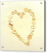 Button Heart Collage  Acrylic Print by Ann Powell