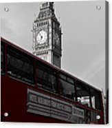 Bw Big Ben And Red London Bus Acrylic Print