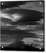 Bw Clouds Over Mt Adams Acrylic Print