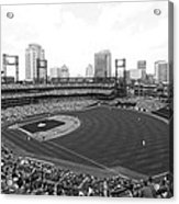 By The Right Field Foul Pole Bw Acrylic Print