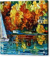 By The Rivershore Acrylic Print by Leonid Afremov