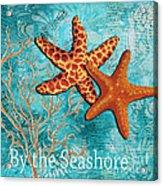 By The Sea Shore Original Coastal Painting Colorful Starfish Art By Megan Duncanson Acrylic Print by Megan Duncanson