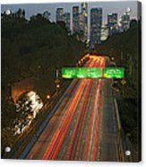Ca 110 Pasadena Freeway Downtown Los Angeles At Night With Car Lights Streaking_2 Acrylic Print