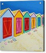Cabana Row - Colorful Beach Cabanas Acrylic Print