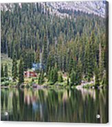 Cabin By The Lake In The Forest Acrylic Print