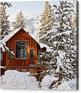 Cabin In Snow Acrylic Print