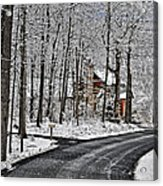 Cabin In The Woods Acrylic Print by Lara Ellis