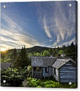 Cabins At Dawn Acrylic Print by Debra and Dave Vanderlaan