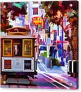 Cable Car At The Powell Street Turnaround Acrylic Print