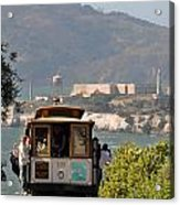 Cable Car Going Down A Steep San Francisco Hill Acrylic Print