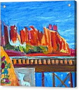 Cacti With Red Rocks And Rr Trestle Acrylic Print