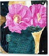 Cactus And The Pink Flower Acrylic Print