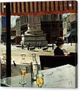 Cafe In A City Square Acrylic Print