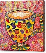 Cafe Latte - Coffee Cup With Colorful Coffee Cups Some Pink And Bubbles  Acrylic Print