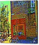 Cafe Window Corner Rue Fabre Near The Bicycle Stand Art Of Montreal Summer Street Scene  Acrylic Print