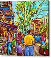 Cafes In Springtime Acrylic Print