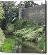Cahir Castle Wall And River Suir Acrylic Print