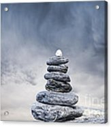Cairn And Stormy Sky Acrylic Print