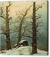 Cairn In Snow Acrylic Print