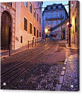 Calcada Da Gloria Street At Dusk In Lisbon Acrylic Print