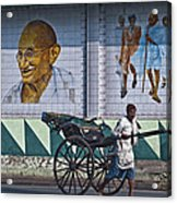 Calcutta - Rickshaw Passing Mahatma Gandhi Rd Metro-station Acrylic Print