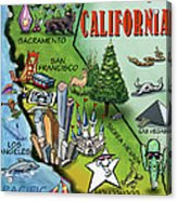 California Cartoon Map Acrylic Print